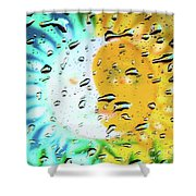 Moon And Sun Rainy Day Windowpane Shower Curtain