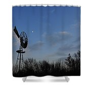 Moon And Windmill Shower Curtain