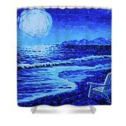Moon Beach Shower Curtain by Tommy Midyette