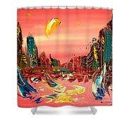 Moon City Shower Curtain