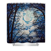Moon Clouds Shower Curtain