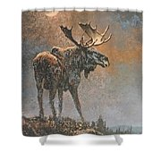 Moon Dusted Moose Shower Curtain