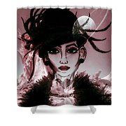 Moon Head Shower Curtain by Saifon Anaya