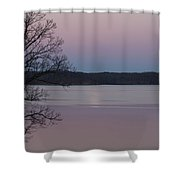 Moon In A Colorful Sky Over Kentucky Lake And Lbl A National Recreation Area Shower Curtain
