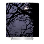 Moon In Inky Blue Sky Shower Curtain