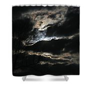 Moon In The Clouds Over Kentucky Lake Shower Curtain