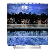 Moon Light - Boathouse Row Philadelphia Shower Curtain