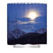 Moon Light Over The Alps Shower Curtain