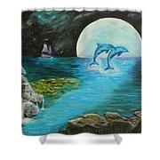Moon Light Swim  Shower Curtain