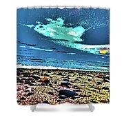 Moon Lit Beach, Bray, Wicklow, Ireland, Poster Effect1b Shower Curtain