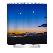 Moon, Mercury & Venus Conjunction Shower Curtain