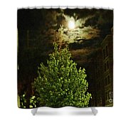 Moon On Fire Over Downtown Savannah Shower Curtain