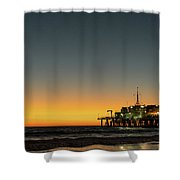 Moon On Jetty  Shower Curtain by Michael Hope