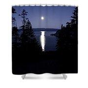 Moon On Lake Tahoe Shower Curtain