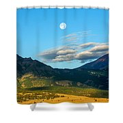 Moon Over Electric Mountain Shower Curtain