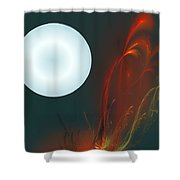 Moon Over Fire Weed Shower Curtain