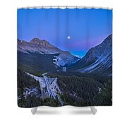 Moon Over Icefields Parkway In Alberta Shower Curtain