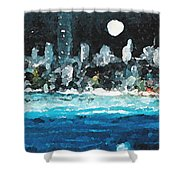 Moon Over Miami Shower Curtain by Jorge Delara