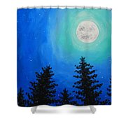 Moon Over Pines Shower Curtain