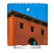 Moon Over Red Adobe Horizontal Shower Curtain