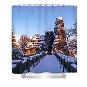 Moon Over Snowy Bastei Bridge Shower Curtain