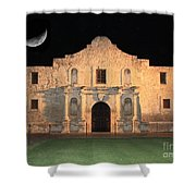 Moon Over The Alamo Shower Curtain by Carol Groenen