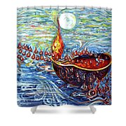 Moon Over The Ocean Shower Curtain