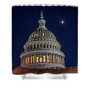 Moon Over The Washington Capitol Building Shower Curtain