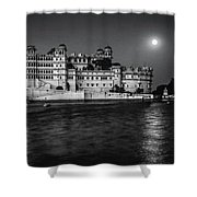 Moon Over Udaipur Bw Shower Curtain