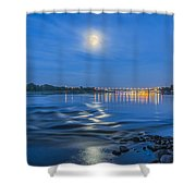 Moon Over Vistula River In Warsaw Shower Curtain