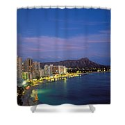 Moon Over Waikiki Shower Curtain