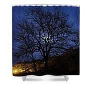 Moon Rise Behind Tree Silhouette At Night Shower Curtain