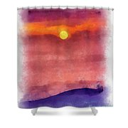 Moon Rise In Aquarelle Shower Curtain