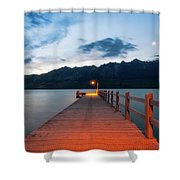 Moon Rising At Glenorchy Wharf, New Zealand Shower Curtain