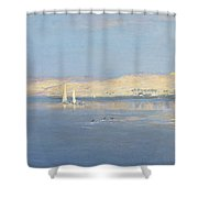 Moon Rising Over The Nile, 1900 Shower Curtain