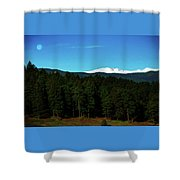 Moon Setting Into The Rocky Mountains Shower Curtain