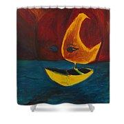 Moon Ship Shower Curtain