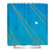 Moon Through The Wires Shower Curtain