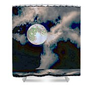 Moon Walk By The Clouds Shower Curtain