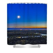 Moon With Antares, Mars And Saturn Shower Curtain