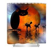 Mooncat's Catwalk Shower Curtain by Issabild -