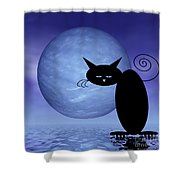 Mooncat's Loneliness Shower Curtain by Issabild -