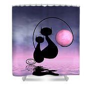 Mooncat's Love Shower Curtain by Issabild -