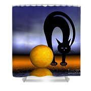 Mooncat's Play With The Fullmoon Shower Curtain by Issabild -