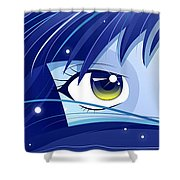 Moonie Shower Curtain by Sandra Hoefer