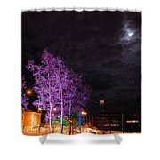 Moonlight And Colored Trees Shower Curtain