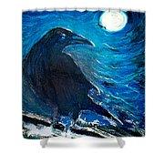 Moonlight Crow Shower Curtain
