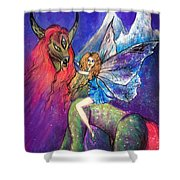 Moonlight Fairy And Her Horned Horse Shower Curtain