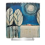 Moonlight On The First Snow Shower Curtain