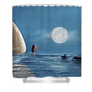 Moonlight Sailnata 4 Shower Curtain